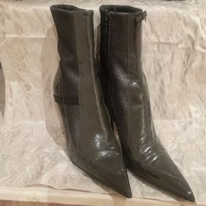 Prada Grey Patent Leather Ankle Boots